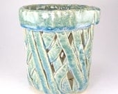 Pale Blue Orchid Pot, Blue Green Orchid Planter, Cachepot, Candle Luminary, Pieced Pottery, Handbuilt Ceramic Utensil Holder, 11-16-32