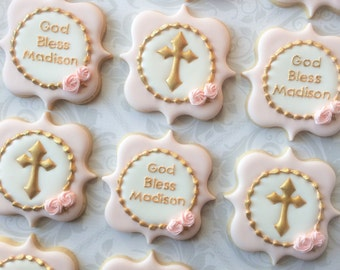 Elegant Pastel Pink God Bless And Gold Cross Baptismal Cookies - One Dozen (12) Decorated Sugar Cookies
