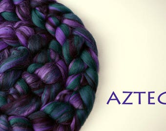 AZTEC - blended roving - Merino - Tussah silk - 100g/3.5oz - purple - green
