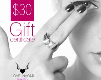 Gift Card, Electronic Gift Certificate for LOVE NAOMI jewelry, E-Card, Last Minute Gift, Birthday Gift, Valentines Day Gift