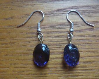 purple dangle earrings, ecofriendly drop earrings