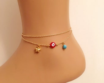 Double Chain Gold Star Charm Anklet, Blue bead anklet, Gold Plated Ankle Bracelet,Red Evil Eye Anklet, Nazar Anklets,Summer Jewelry, Beach