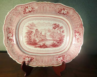 Large  Staffordshire Vintage China Pink and Red Transferware Platter, COLOGNE, 1832 - 35, English Cottage