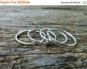 Stacking silver rings, thin sterling silver rings, hammered skinny rings, set of 4 stacking rings, textured silver dainty band rings.