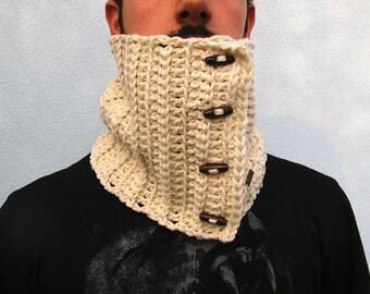 Unisex Buttoned Cowl Neckwarmer Him Her Scarf Neck Warmer Ivory