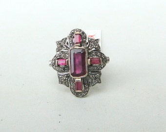 Victorian 14 K Gold,Sterling Silver, Natural Ruby, Rubellite & Diamond Ring