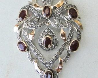 Victorian Diamond Natural Ruby Gold Silver Pendant India