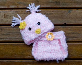 BABY BIRD HAT Pink Crochet Beanie, Baby Girl Easter, Bird Photo Prop, Knit Pink Bird hat, Bulky Animal Hat, Baby Easter Bonnet, Easter Chick