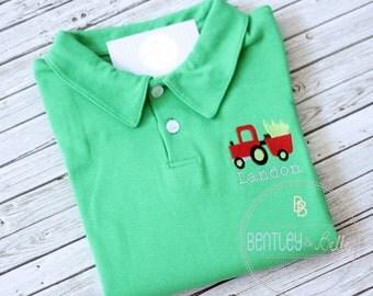 Boys Embroidered Tractor Polo - Boys Christmas Shirt - Boys Christmas Tree Shirt - Monogram Polo Shirt - Boys Tractor Hauling Tree Shirt