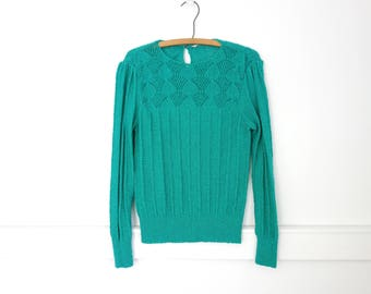 Vintage 70s crochet knit top Emerald Green Thin Knit Sweater Cropped Knit Blouse Boho Top Crop Sweater Top Womens Small