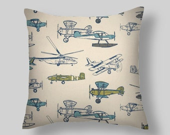 Blue Pillows, Navy Pillow Cover ,Throw Pillows, Decorative Pillows, Blue Pillow Covers All Sizes 18 x 18  20 Home Decor, Airplanes Pillow