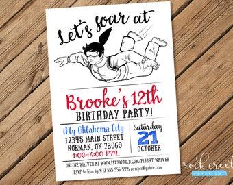 Skydiving Invitation, Parachuting invitation, Skydiver Birthday, iFly Invitation, Printable Birthday Party Invitation