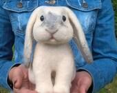 Needle felted white rabbit. White bunny.