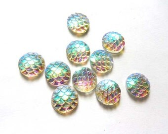 10 White AB Resin Mermaid Scale Cabochons 12mm - 14-12-E
