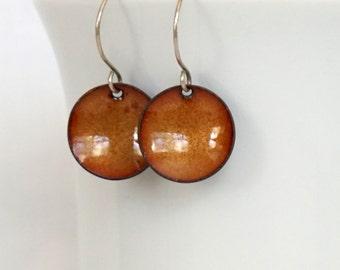 Golden Yellow Enamel Disc Earrings - Wax Yellow - Enamel Jewelry
