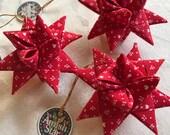 3 Handmade Red Folded Amish Christmas Star Ornaments