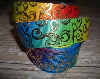 Rainbow Grosgrain Ribbon with Gold Swirls