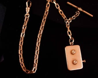 Antique Victorian Watch chain / Golf Stroke counter / gift for dad / antique FOB /  really works / Rose gold filled