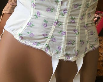Vintage 50's bri nylon Prova waspie waist cincher corset boned burlesque
