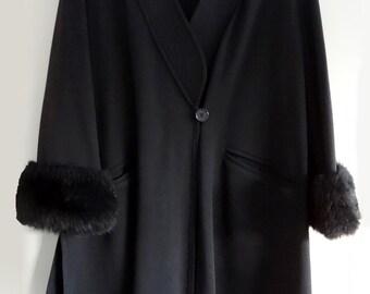 Sonia Rykiel Paris Vintage Black Wool Swing Coat with Faux Fur Cuffs size EU 44/US 14-16-1x