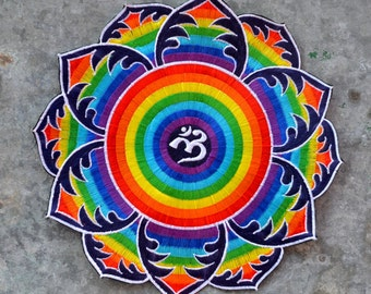 Rainbow OM fabric patch sew on flower petal embroidery mandala hippie funky embellishment large sized badge