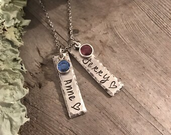 Personalized Jewelry, Name Jewelry, Birthstone Jewelry, Hand Stamped, Name Jewelry, Gifts for Her, Christmas Gift, Gifts for Mom, Stamped