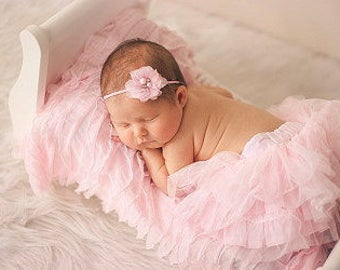 Baby Pink Ruffled Layering Piece for Newborn Photo Shoot, 12 Colors, Infant Wrap, Newborn Wrap, Infant Photo Prop, Newborn Photo Prop,  Wrap