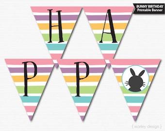 Bunny Banner Printable Easter Birthday Banner Bunny Party Bunny Birthday Easter Banner Rabbit Birthday Banner Rabbit Banner Bunny Stripes
