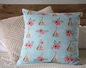 Pillow cover, throw pillow, tee pee decor, pillow, nursery decor, 18x18 pillow cover, Decorative Pillow, Kids room, Kids pillow,