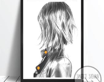 Fashion Print, Fashion Girl l Print, scandi and nordic decor, wall print, wall art, monochrome print, wall decor - 8x10'