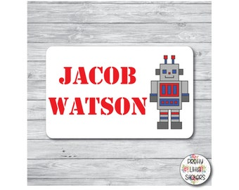50 x 4cm x 2.5cm Personalised Robot Name Stickers School Nursery Tag Shoes