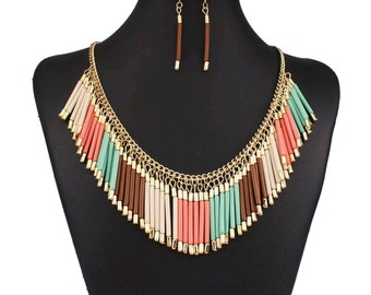 After Life Accessories Handmade Color Resin Chain Tassel Necklace with earrings