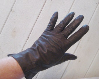 Brown leather gloves, driving gloves, vintage Fownes gloves, lined leather gloves, 50s 60s mid century, size 7 to 7.5, 1484