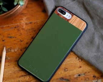 iPhone 7 plus Wood Case, iPhone 7 plus Leather Case, Wood/Leather iPhone 7 plus Case - LTR-GR-I7P