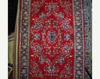 YEAR END CLEARANCE 1970s Vintage Hand-Knotted Najafabad Persian Rug (1226)