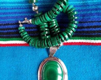Malachite Pendant Necklace, Vintage Necklace, Southwestern Jewelry, Native Jewelry, Chunky Necklace