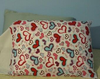 Hearts/Black & White polka dot cuff/Pillowcase