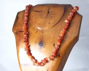 Vintage Orange Agate Necklace, Gemstone Chip Necklace, Orange Necklace, Orange Bead Necklace