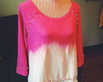 Dip Dyed Studded Quarter Sleeve Sweatshirt