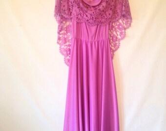 vintage  dress lavender dress  purple dress 1970s 70s dress bohemian dress lace shawl dress purple dress small purple dress stevie nicks
