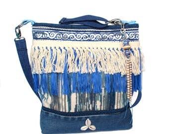 Fringed crossbody bag blue cream, big purse jeans, fabric purse handmade, OOAK gift for woman, bohemian purse Ibiza style, unique fabric bag