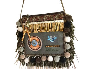 Mini purse vintage style, fringe festival cross body, handmade bags OOAK, small purse pompons, brown grey bag with patches