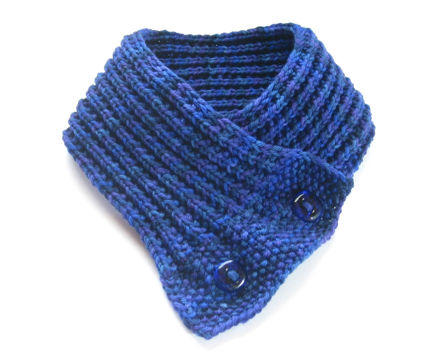 Hand Knit Button Cowl, Merino Wool Blue Scarf, Accessories, Blue ...
