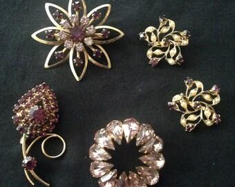 Vtg 60s Amethyst Rhinestone Brooch Collar Clip Collection