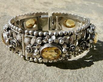Peruzzi Bracelet, Peruzzi Jewelry, 800 Silver Bracelet, Renaissance Jewelry, Lemon Quartz Bracelet, Italian Jewelry, Citrine Bracelet