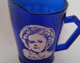 Vintage Shirley Temple Pitcher 1960's Cobalt Blue Glass Small Creamer Shirley Temple Collectible 4""