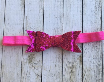 Bright Pink Glitter Bow (small) Headband