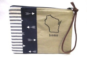 Hand Made Clutch / Hand Stamped with Wisconsin & Home