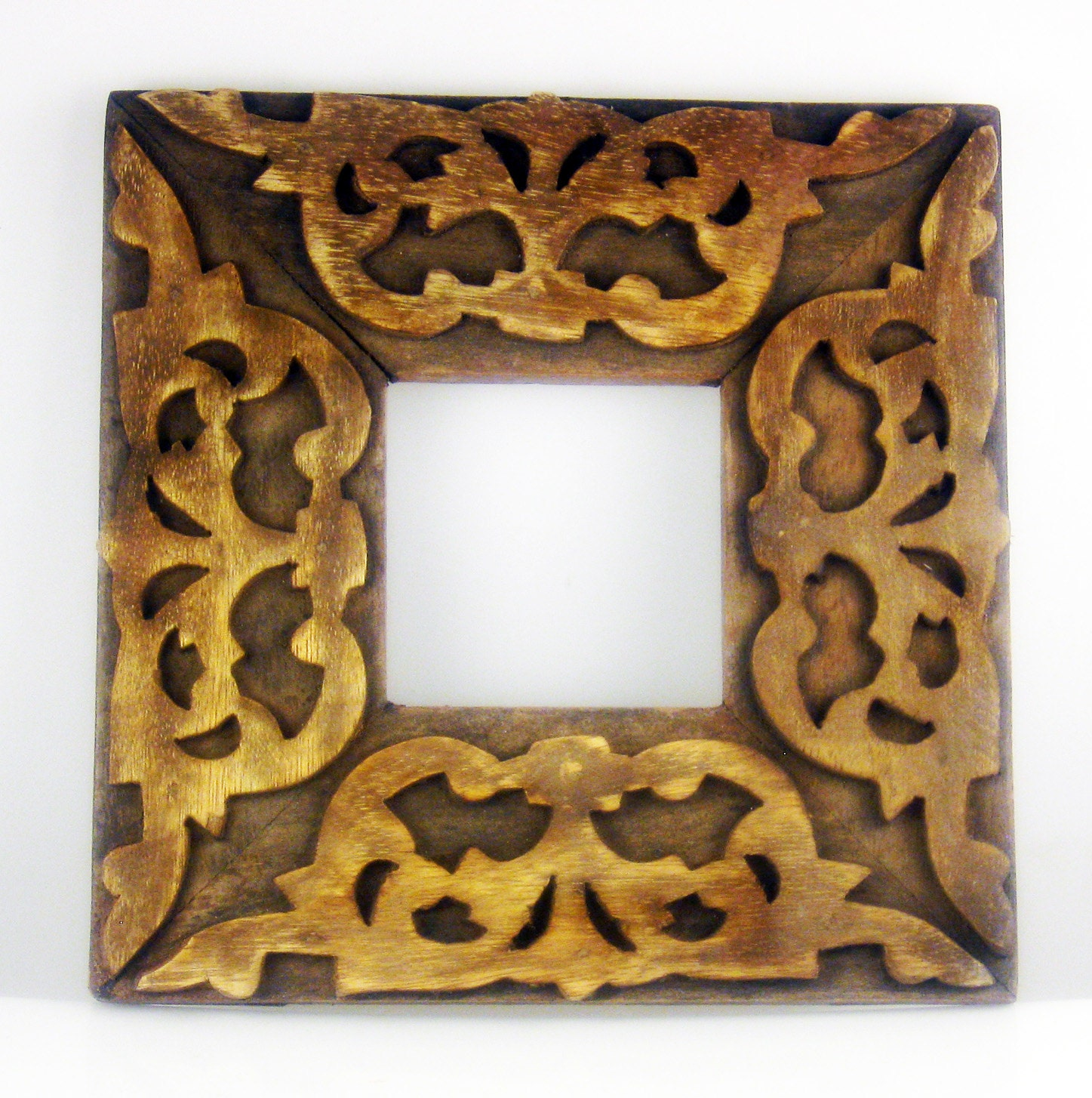 Vintage indonesian batik design hand carved wood picture frame sold by designstampingtools jeuxipadfo Image collections