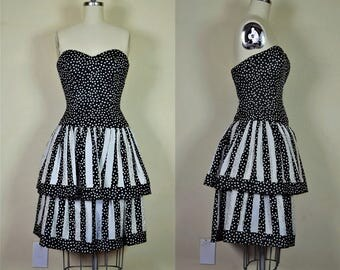 1980s Silk Black & White Polka Dot A J Bari Strapless Party Dress Bust 31.5""